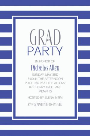 Custom Royal Blue Stripe Invitations