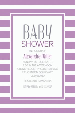 Custom Lavender Stripe Invitations