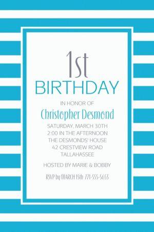 Custom Caribbean Blue Stripe Invitations