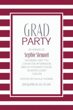 Custom Berry Stripe Invitations