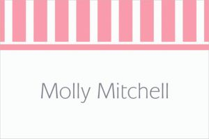 Custom Pink Stripe Thank You Notes