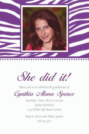 Custom Purple Zebra Photo Invitations