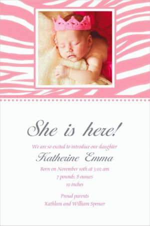 Custom Pink Zebra Photo Invitations