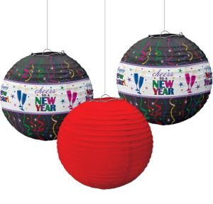 Cheers New Year's Paper Lanterns 3ct