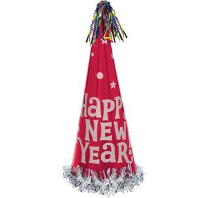 Red Tall New Year's Cone Hat