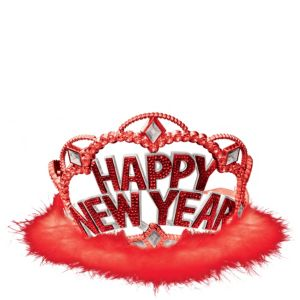 Red Marabou New Year's Tiara