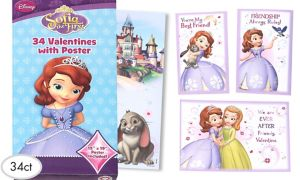 Sofia the First Valentine Exchange Cards with Poster 34ct
