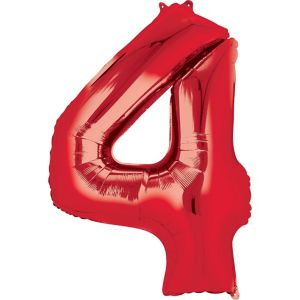 Number 4 Balloon - Red