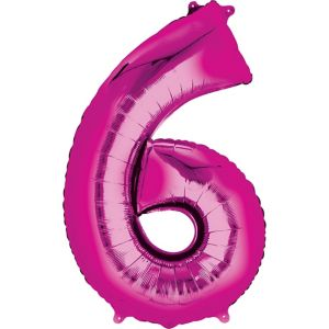 Giant Bright Pink Number 6 Balloon 22in X 34in Party City
