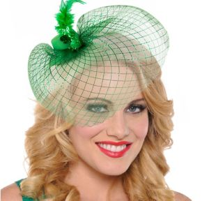 Green Mini Hat Hair Clip with Veil