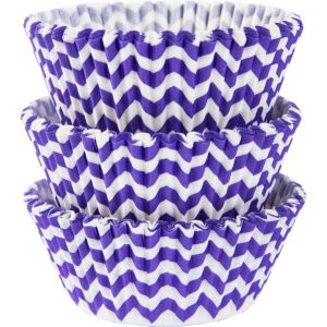 Purple Chevron Baking Cups 75ct