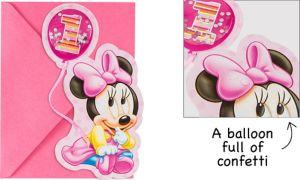 Premium 3D 1st Birthday Minnie Mouse Invitations 8ct