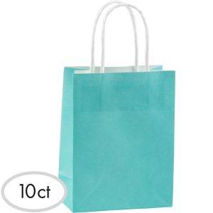 Medium Robin's Egg Blue Kraft Bags 10ct