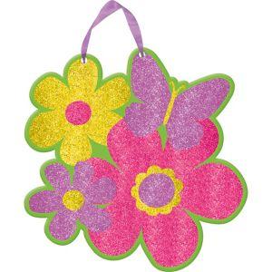 Spring Butterflies & Flower Glitter Sign
