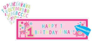 Wild at One Girl's Personalized 1st Birthday Banner