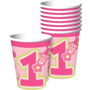 Wild at One Girl's 1st Birthday Cups 8ct