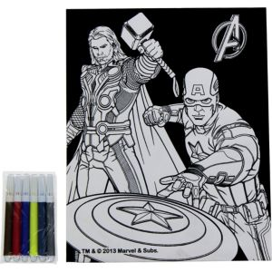 Avengers Velvet Coloring Poster with Markers