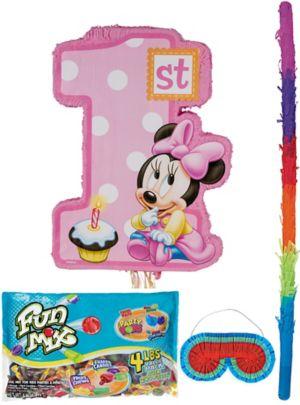 Pull String 1st Birthday Minnie Mouse Pinata Kit