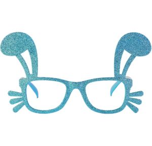 Blue Glitter Easter Bunny Glasses Frames