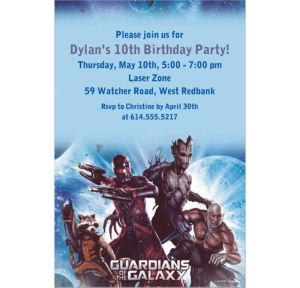 Custom Guardians of the Galaxy Invitations