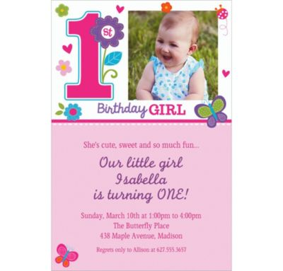 Custom Sweet Birthday Girl Photo Invitations