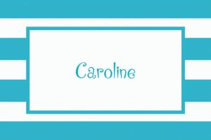 Custom Caribbean Blue Cabana Stripe Thank You Notes