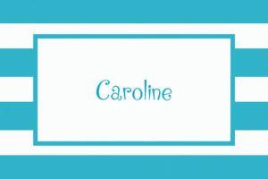 Custom Caribbean Blue Cabana Stripe Thank You Notes