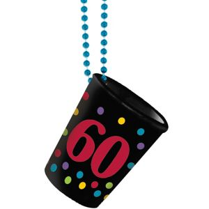 60th Birthday Shot Glass Bead Necklace