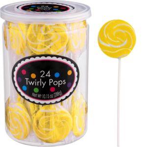 Yellow Swirly Lollipops 24pc
