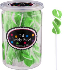 Twirly Kiwi Green Lollipops 24pc