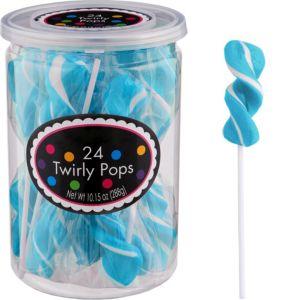 Caribbean Blue Twirly Lollipops 24pc