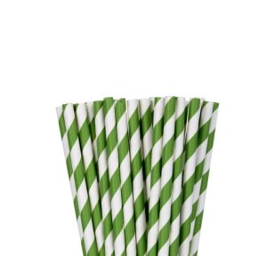 Kiwi Green Striped Paper Straws 24ct
