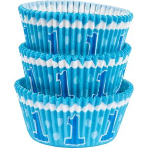 Blue 1st Birthday Baking Cups 75ct