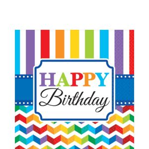 Rainbow Chevron Birthday Lunch Napkins 16ct