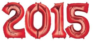 Red 2015 Number Balloons