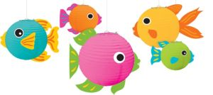 3D Tropical Fish Paper Lanterns 5ct
