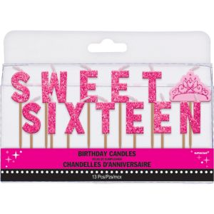 Glitter Pink Sweet Sixteen Birthday Toothpick Candles 13ct