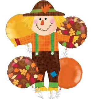 Thanksgiving Balloon Bouquet 5pc - Happy Scarecrow