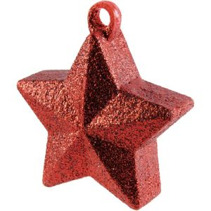 Glitter Red Star Balloon Weight