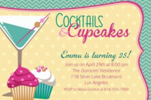 Custom Cocktails & Cupcakes Invitations