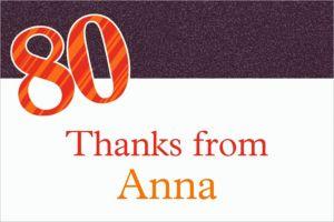 Custom Big Celebration 80 Thank You Notes