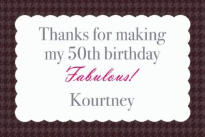 Custom Fabulous & Fifty Thank You Notes