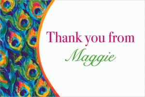 Custom Color Peacock Thank You Notes