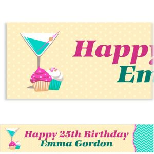 Custom Cocktails & Cupcakes Banner 6ft