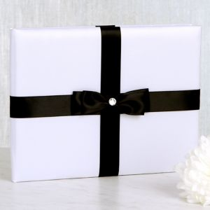 White Wedding Guest Book with Black Bow