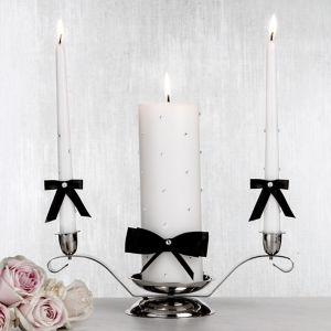 Black Bow Unity Candle Set 3pc