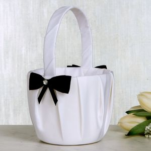 Black Bow Flower Girl Basket