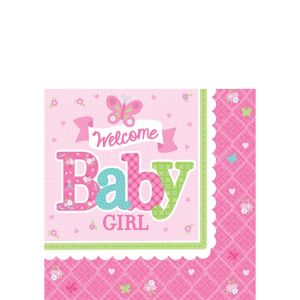 Welcome Baby Girl Baby Shower Beverage Napkins 16ct