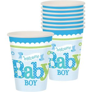 Welcome Baby Boy Baby Shower Cups 8ct