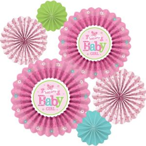 Welcome Baby Girl Baby Shower Paper Fan Decorations 6ct